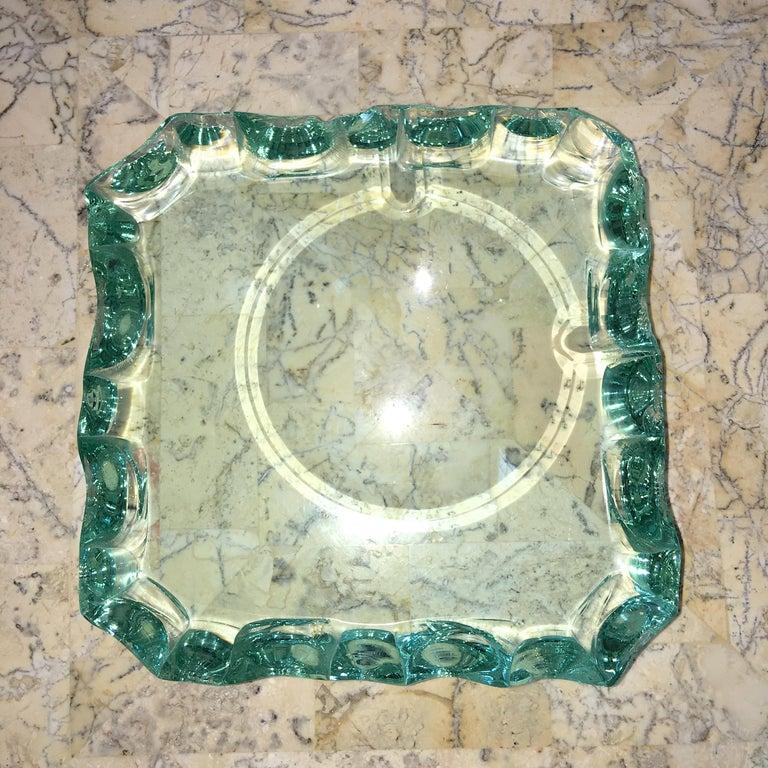 Mid-Century Modern Pietro Chiesa for Fontana Arte Scalloped Edge Crystal Ashtray For Sale