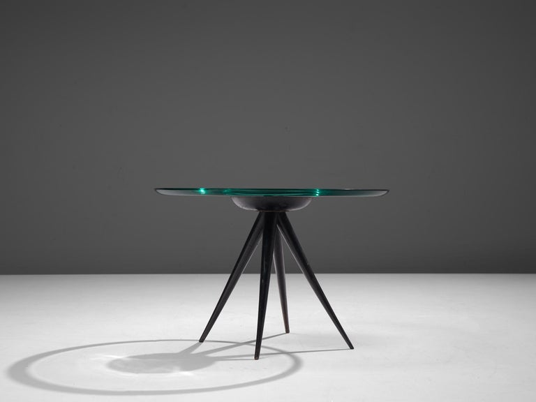 Mid-Century Modern Pietro Chiesa for Fontana Arte Side Table in Glass and Ebonized Wood For Sale