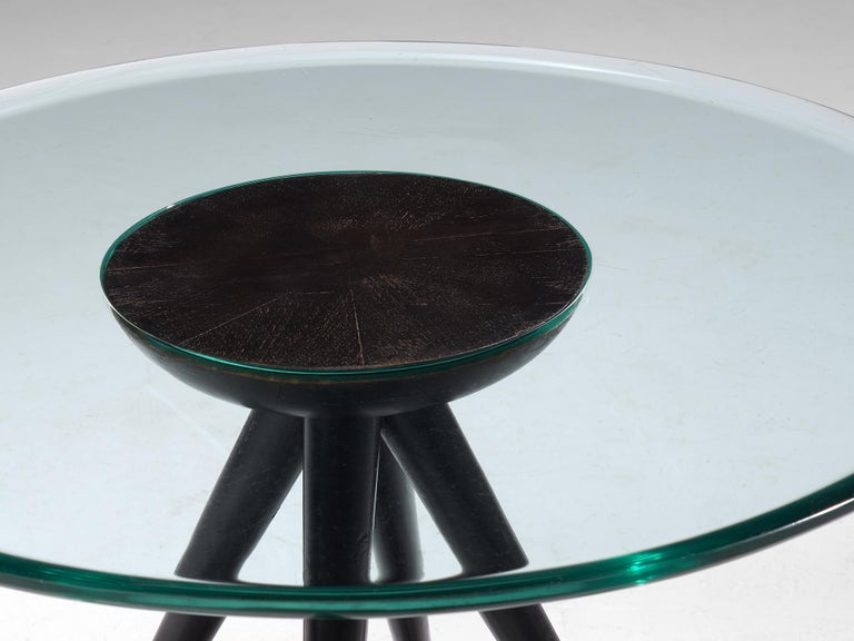 Italian Pietro Chiesa for Fontana Arte Side Table in Glass and Ebonized Wood For Sale