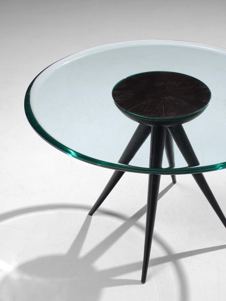 Pietro Chiesa for Fontana Arte Side Table in Glass and Ebonized Wood In Good Condition For Sale In Waalwijk, NL