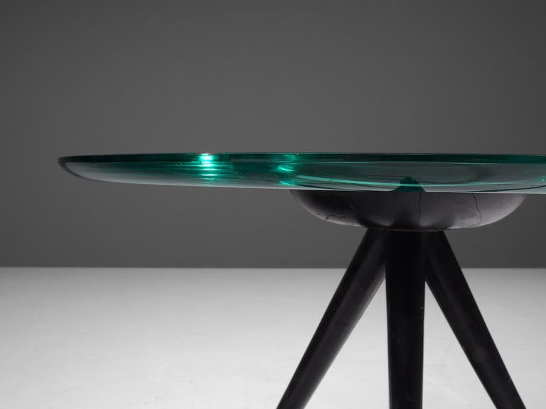 Mid-20th Century Pietro Chiesa for Fontana Arte Side Table in Glass and Ebonized Wood For Sale