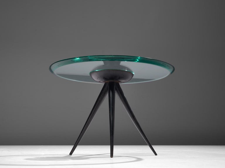 Pietro Chiesa for Fontana Arte Side Table in Glass and Ebonized Wood For Sale 1