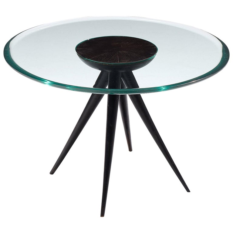 Pietro Chiesa for Fontana Arte Side Table in Glass and Ebonized Wood For Sale