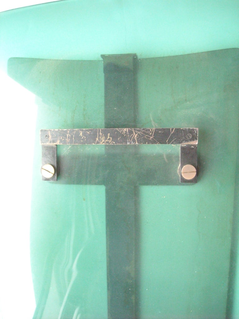 Italian Pietro Chiesa/ Max Ingrand, Wall Mirror for Fontana Arte Frosted Glass, Brass For Sale