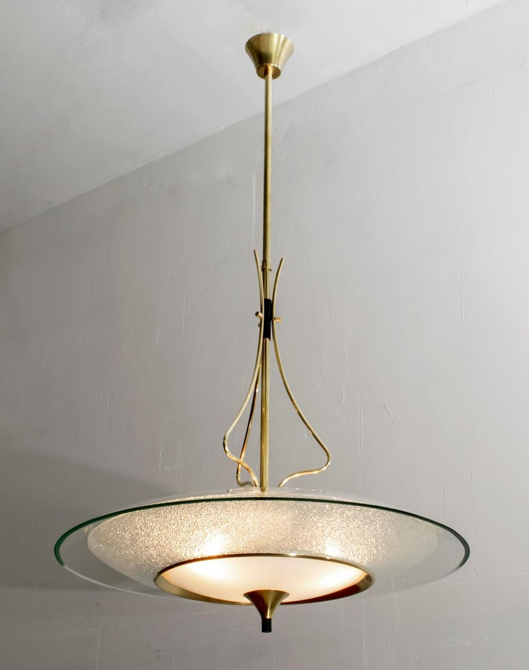 Mid-Century Modern Pietro Chiesa Mid-Century Italian Glass and Brass Chandelier by Fontana Arte 40s For Sale