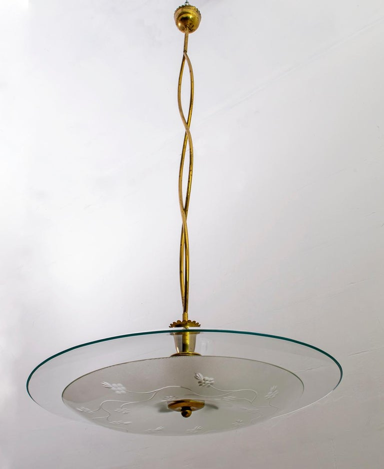 Mid-Century Modern Pietro Chiesa Midcentury Italian Glass and Brass Chandelier by Fontana Arte For Sale