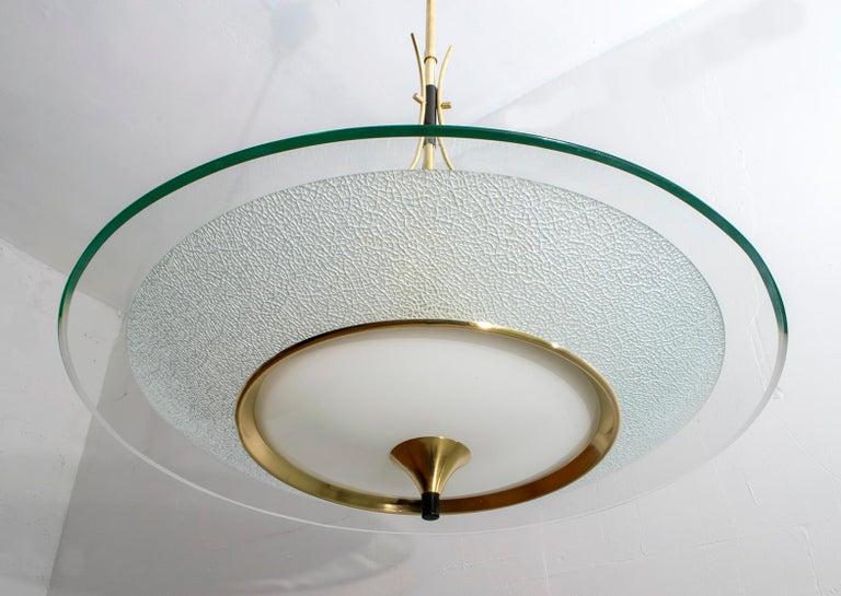Pietro Chiesa Mid-Century Italian Glass and Brass Chandelier by Fontana Arte 40s For Sale 1