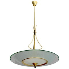 Pietro Chiesa Mid-Century Italian Glass and Brass Chandelier by Fontana Arte 40s