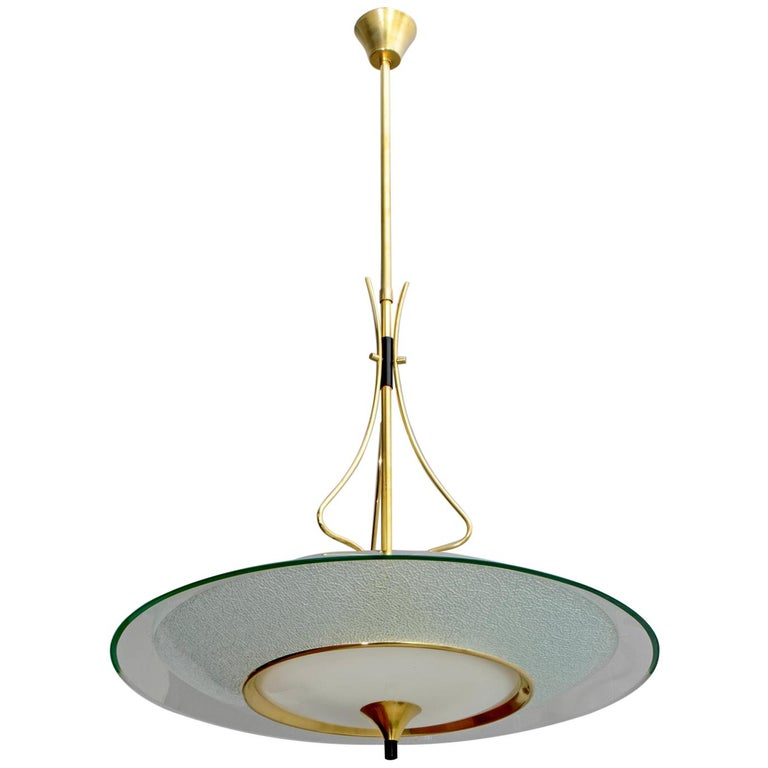 Pietro Chiesa Mid-Century Italian Glass and Brass Chandelier by Fontana Arte 40s For Sale