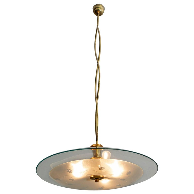 Pietro Chiesa Midcentury Italian Glass and Brass Chandelier by Fontana Arte For Sale