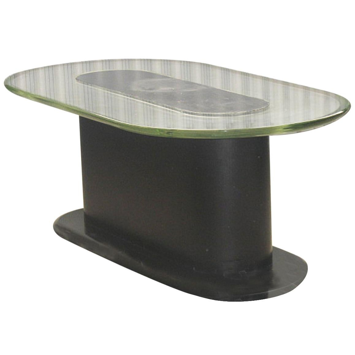 Pietro Chiesa Oval Low Table with Thik 'Verde Nilo' Glass Top, Milano, 1940s