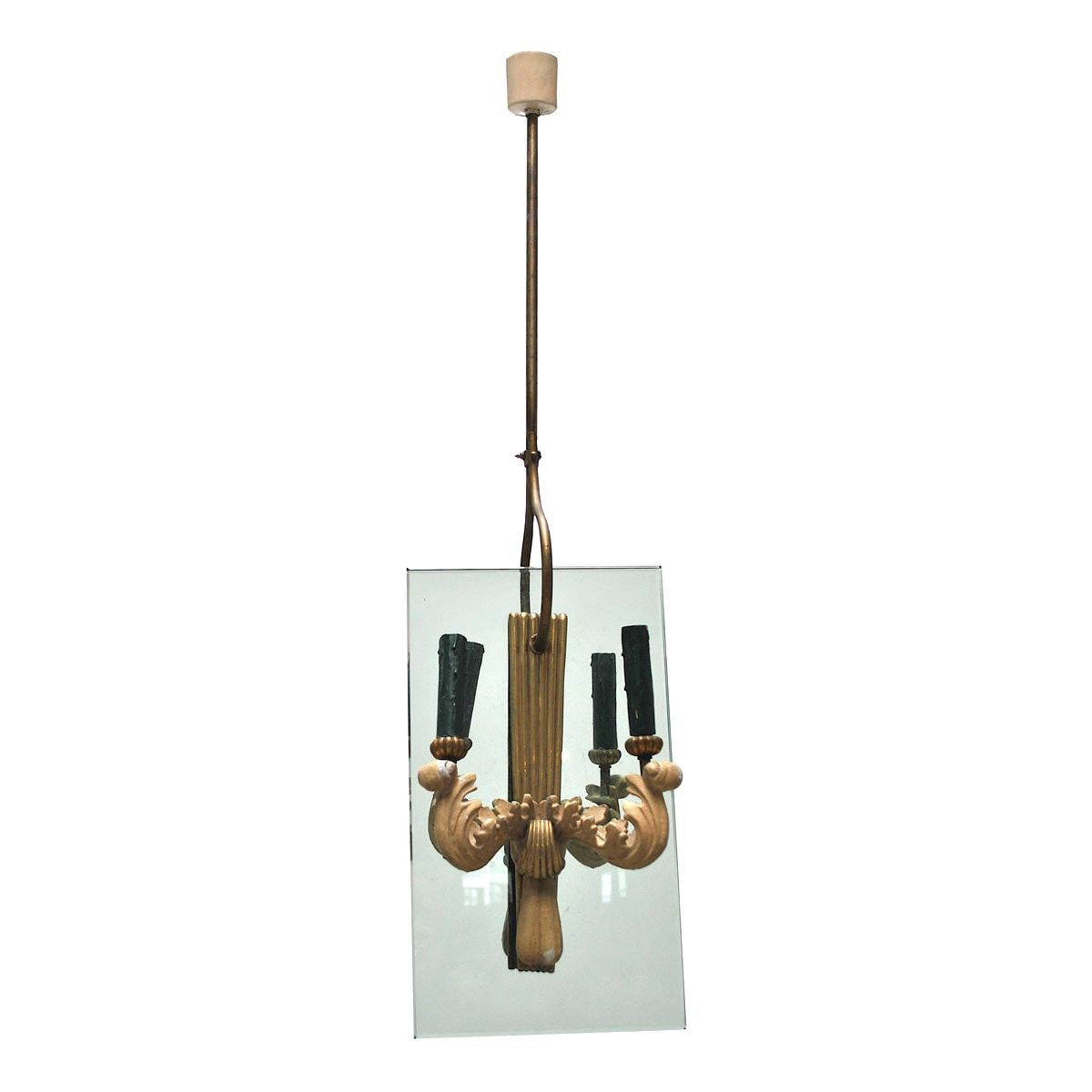 Pietro Chiesa Style Midcentury Chandelier in Brass and Crystal, 1940s