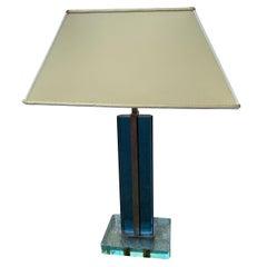 Pietro Chiesa Table Lamp Fontana Arte 1940 Blu Crystal Brass Italian
