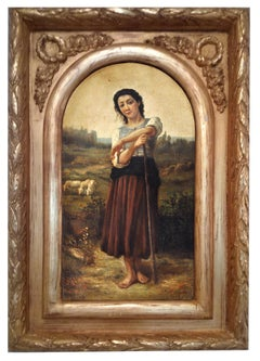 COUNTRY GIRL -Pietro Colonna  Italian portrait of young peasant oil on canvas