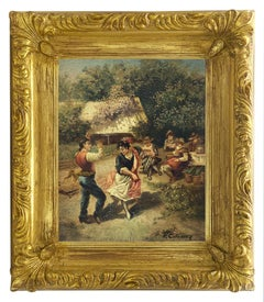 COUNTRY SCENE - Italian oil on canvas painting, Pietro Colonna