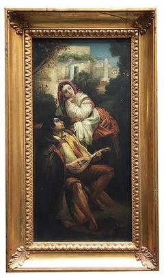 SERENADE- Neapolitan School -  Italian Figurative Oil on canvas Painting
