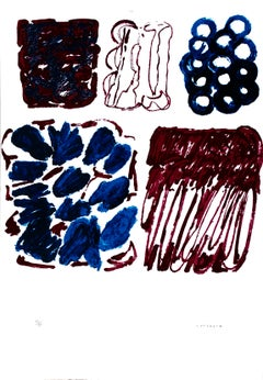 Red and Blue - Original Lithograph by P. Consagra - 1970
