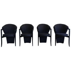 Pietro Constantini, Set of Four Black Elegant Dining Room Chairs, 1980s