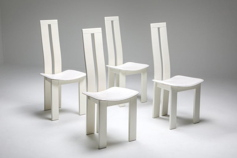 White Postmodern dining chairs by Pietro Costantini, Italy, 1980s.
