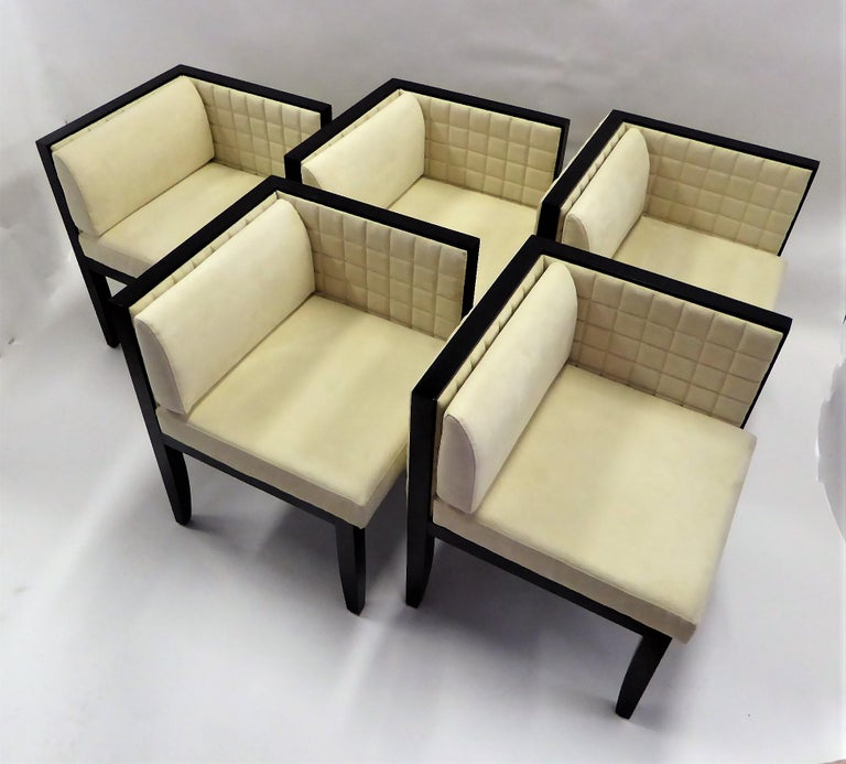 Art Deco Pietro Costantini Yale Corner Chairs in Quilted Ultrasuede For Sale