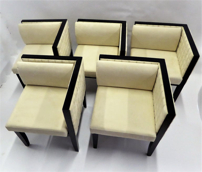 Italian Pietro Costantini Yale Corner Chairs in Quilted Ultrasuede For Sale