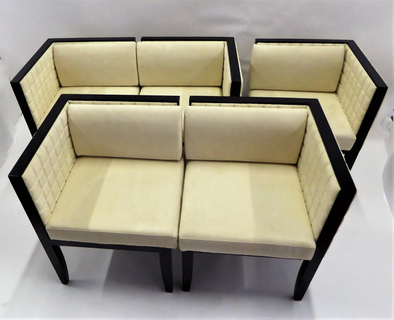Lacquered Pietro Costantini Yale Corner Chairs in Quilted Ultrasuede For Sale