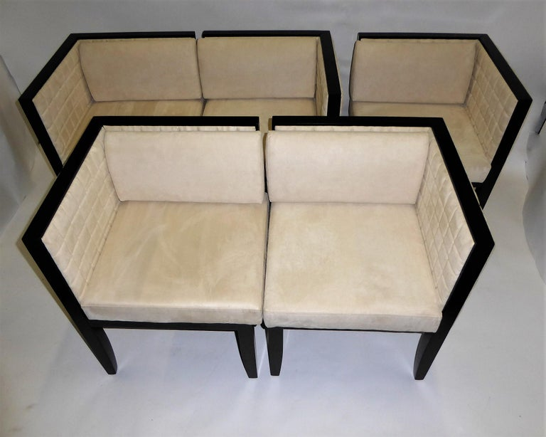 Pietro Costantini Yale Corner Chairs in Quilted Ultrasuede In Good Condition For Sale In Miami, FL