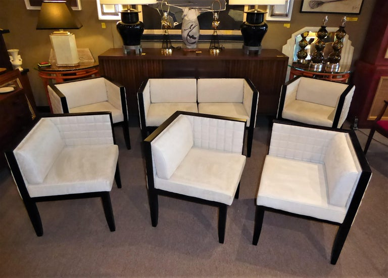 Late 20th Century Pietro Costantini Yale Corner Chairs in Quilted Ultrasuede For Sale