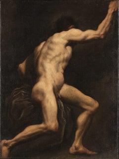 Study of a Male Nude - Oil on Canvas by Pietro della Vecchia - 17th Century