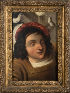 The Knight - Original Oil on Board by Pietro della Vecchia - 17th Century