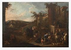 Market Scene - Oil Paint On Canvas by Pietro Domenico Olivero - 18th Century