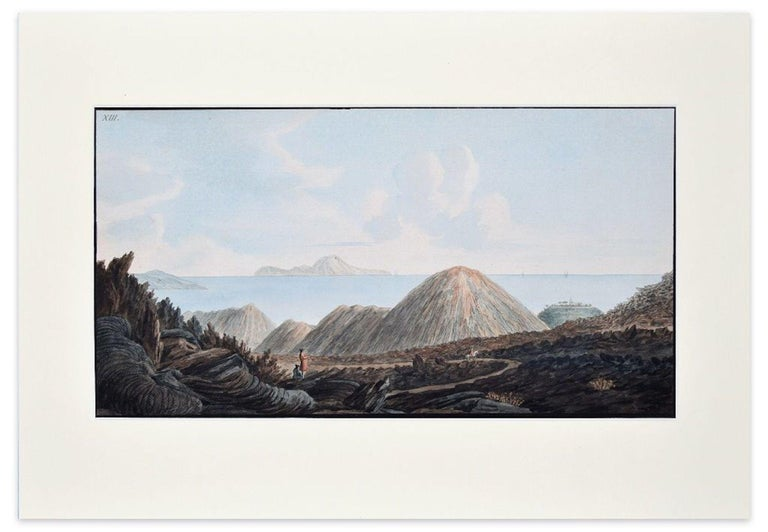 """Landscape Campi Phlegraei - Plate XIII - View of Capri is an original colored etching realized by Pietro Fabris between 1776 and 1779.  This beautiful plate is the n. XIII (printed on plate on higher left corner) from the volume """"Campi Flegrei"""" by"""