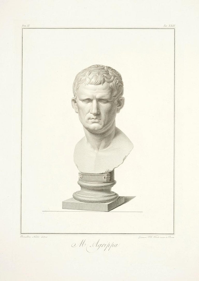 Pietro Fontana Figurative Print - Bust of M. Agrippa - by G. Foto After B. Nocchi - 1821