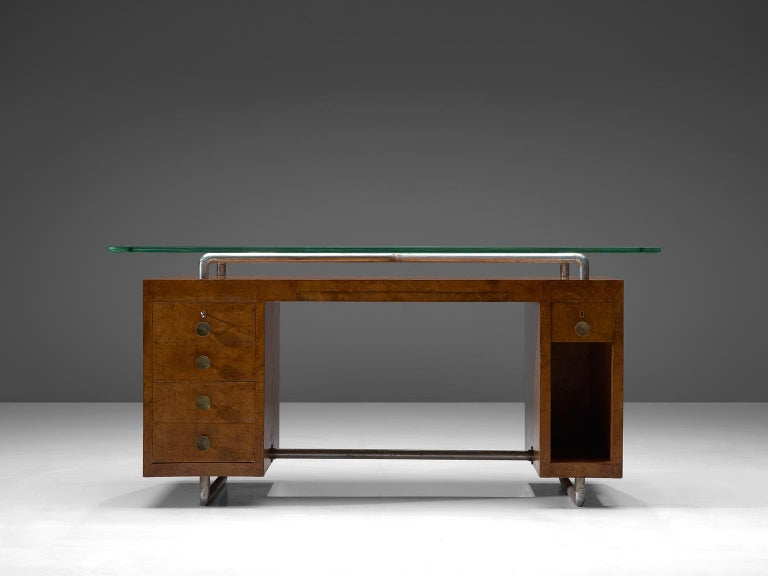 Pietro Lingeri, desk, briar root veneer, glass, brass and metal, Italy, 1930s.