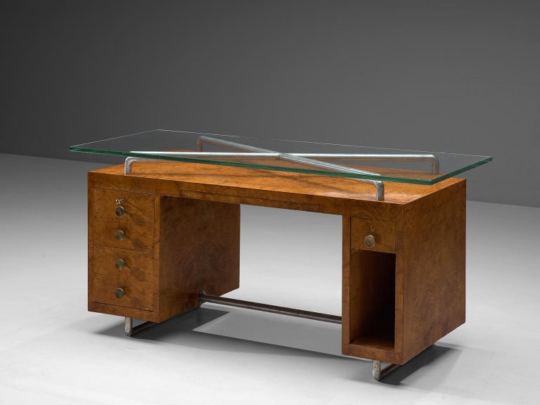 Italian Pietro Lingeri Briar Root Veneered Desk, circa 1930 For Sale