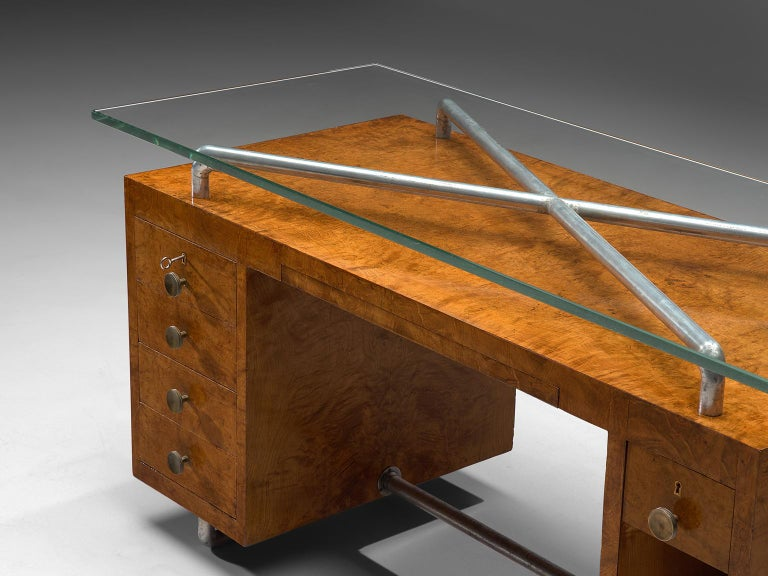 Mid-20th Century Pietro Lingeri Briar Root Veneered Desk, circa 1930 For Sale