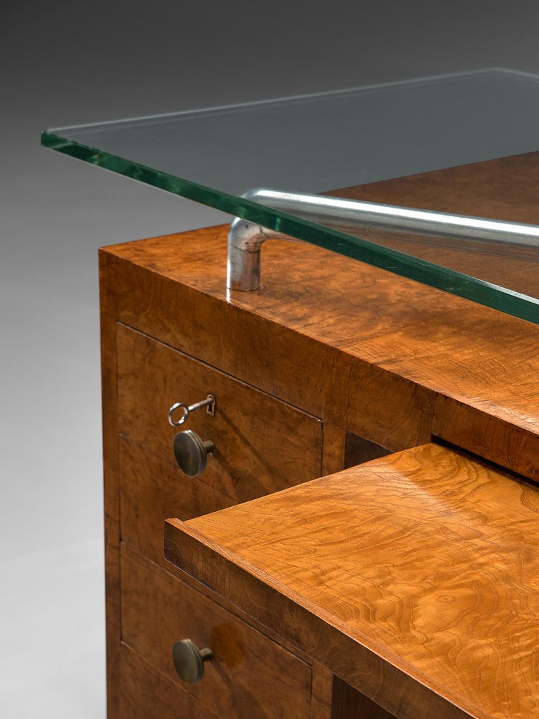 Wood Pietro Lingeri Briar Root Veneered Desk, circa 1930 For Sale