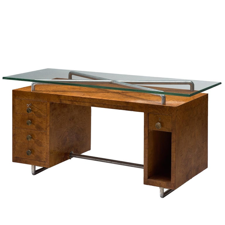 Pietro Lingeri Briar Root Veneered Desk, circa 1930 For Sale