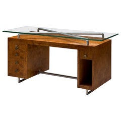 Pietro Lingeri Briar Root Veneered Desk, circa 1930