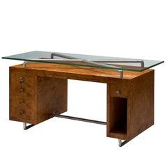 Pietro Lingeri Briar Root Veneered Desk, circa 1930
