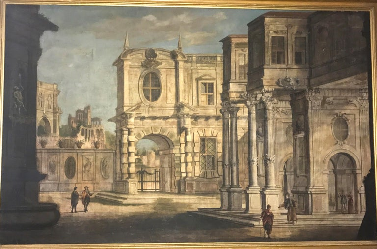 Pair of Italian 18th Century Tempera on Canvas Classical Paintings