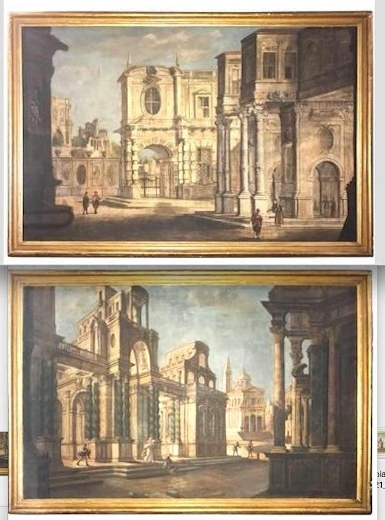 A fine pair of Italian 18' century Capriccio with Classical ruins, tempera oil on canvas with giltwood frame . Atr.Pietro Paltronieri, il Mirandolese (Mirandola 1673-1741 Bologna).