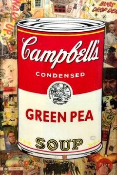 """Pop Art, """"Campbells Condensed Green Pea Soup"""", original Mixed Media on Fruitwood"""