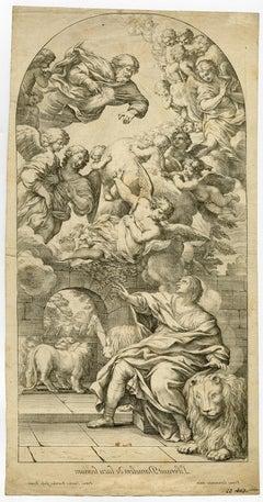 Depiction - Daniel in lionpit by Pietro Santi Bartoli - Engraving - 17th Century