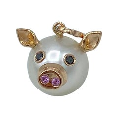 Pig Black Diamond Pink Sapphire 18kt Red Gold Pearl Pendant Necklace