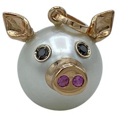 Pig Black Diamond Sapphire 18 Karat Gold Pearl Italian Pendant Necklace