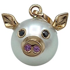 Pig Black Diamond Sapphire 18kt Gold Pearl Italian Pendant Necklace Petronilla