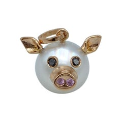 Pig Black Diamond Sapphire 18kt Gold Pearl Pendant Necklace or Charm