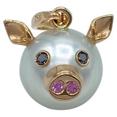 Pig Black Diamond Sapphire 18kt Gold Pearl Pendant Necklace or Charm Petronilla