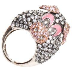 Pig ring with pink and clear CZ stones in silver band